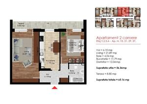[STR. BIRUINTEI] Apartament 2 camere 65mp - PROMOTIE - 750E/MP UTIL! - imagine 5