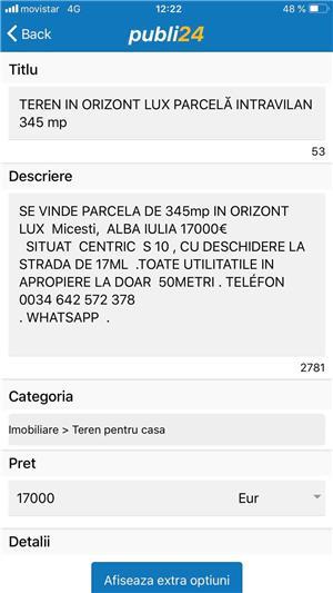 PARCELĂ 345mp PROPRIETAR ALBA IULIA ORIZONT LUX  MICEȘTI.  - imagine 4