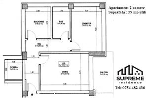 Apartament 2 camere, 59 mp utili, COMISION 0% - imagine 2