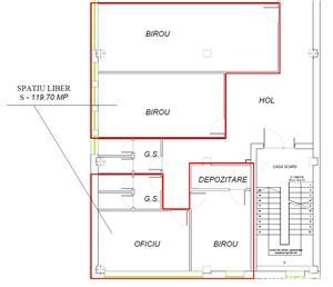 Spatiu birouri de inchiriat 120 m2 - 4,6 eur/m2 - imagine 6