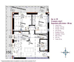 Apartament 3 camere terasa 27 mp, 500 metri Piata Muncii - imagine 4