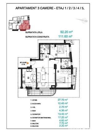 Piata Victoriei - 3 camere cu 2 balcoane, imobil 2018 - imagine 2