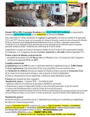 ELECTRICIENI cu experiență în domeniul construcțiilor navale sau industriale, muncă Olanda - imagine 4