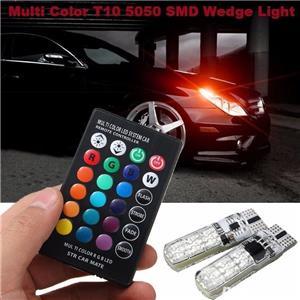 Set 2 Becuri LED RGB Auto Cu Telecomanda - imagine 1