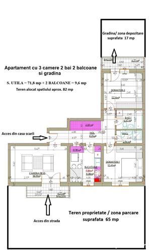 Dezvoltator apartam cu gradina 3 cam 2 bai si 2 balcoane 72 mp intabulat finisat  - imagine 7