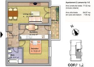 Apartament de 2 camere,finisat la cheie, cu balcon,65 mp utili,Fundeni - imagine 2