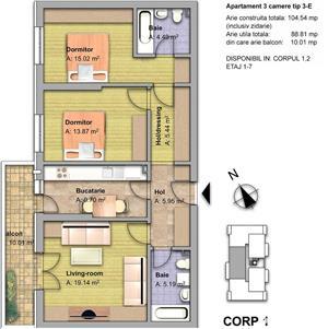 Apartament 3 camere la cheie, cu 2 balcoane,89,81 mp utili,Fundeni Pantelimon - imagine 7