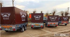 de inchiriat trailer dublu platforma transport doua auto remorci cu prelata auto moto atv - imagine 3