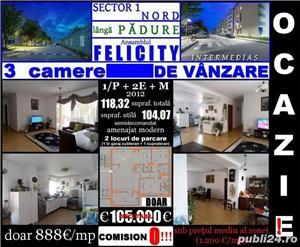 FeliCity-lângă Pădurea Băneasa, 3 cam. 1/P+2+M, 2012, 108mp, 2 locuri parcare - imagine 1